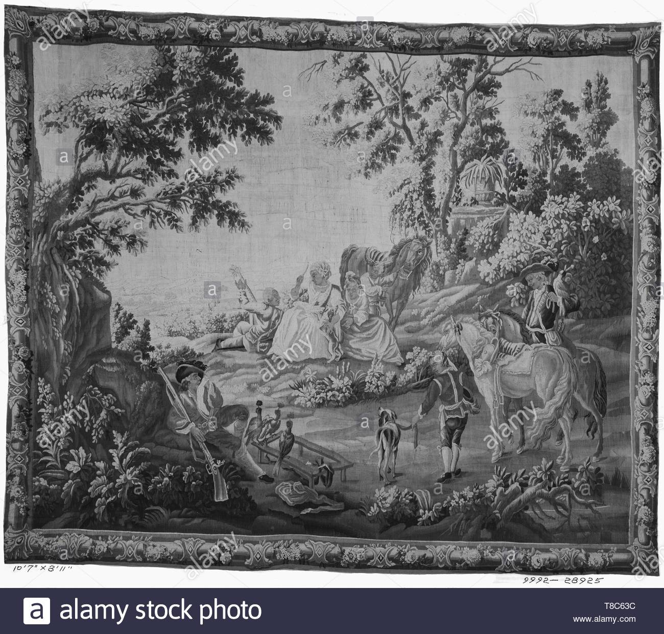 Falens, Carel van (Flemish, 1683-1733) (designed after) [painter] br Le Bas, Jacques-Philippe (French, 1707-1783) (designed after) [printmaker] br Roby, Lonard (French, act. 1770-1788) (workshop) [weaver]-Falconers - Stock Image