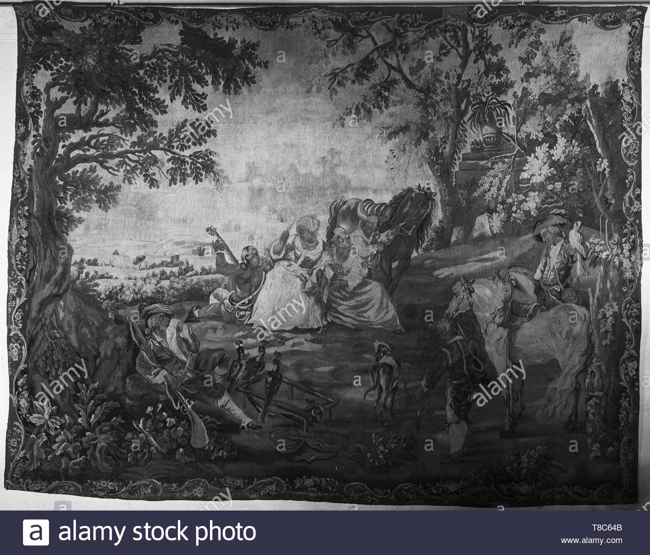 Falens, Carel van (Flemish, 1683-1733) (designed after) [painter] br Le Bas, Jacques-Philippe (French, 1707-1783) (designed after) [printmaker]-Falconers resting, Image 1 - Stock Image