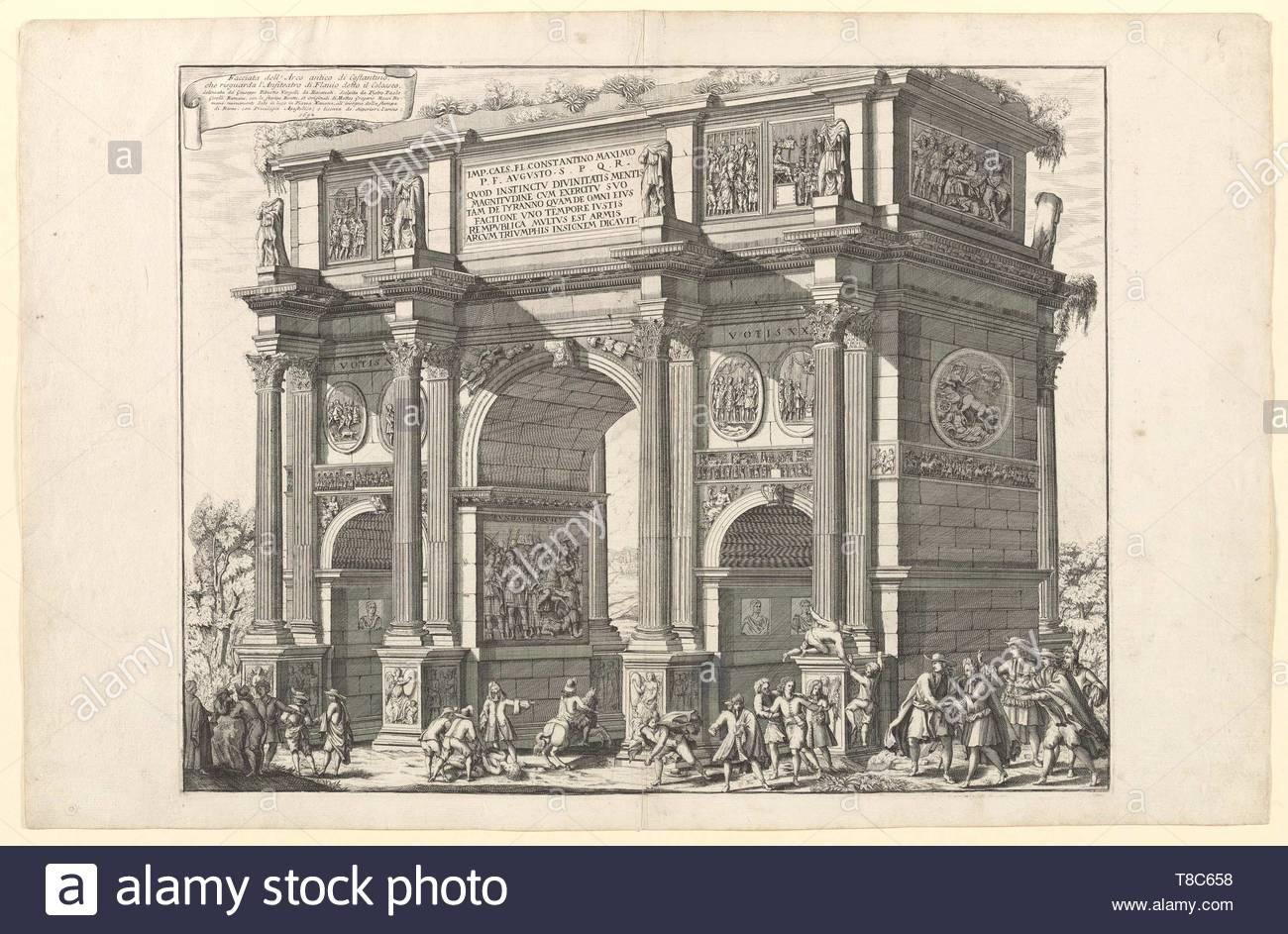 Girelli, Pietro Paolo, active 1690, printmaker.-Facciata dell'arco antico di Costantino che risguarda l'Anfiteatro di Flavio detto il Colosseo, 1692 - Stock Image