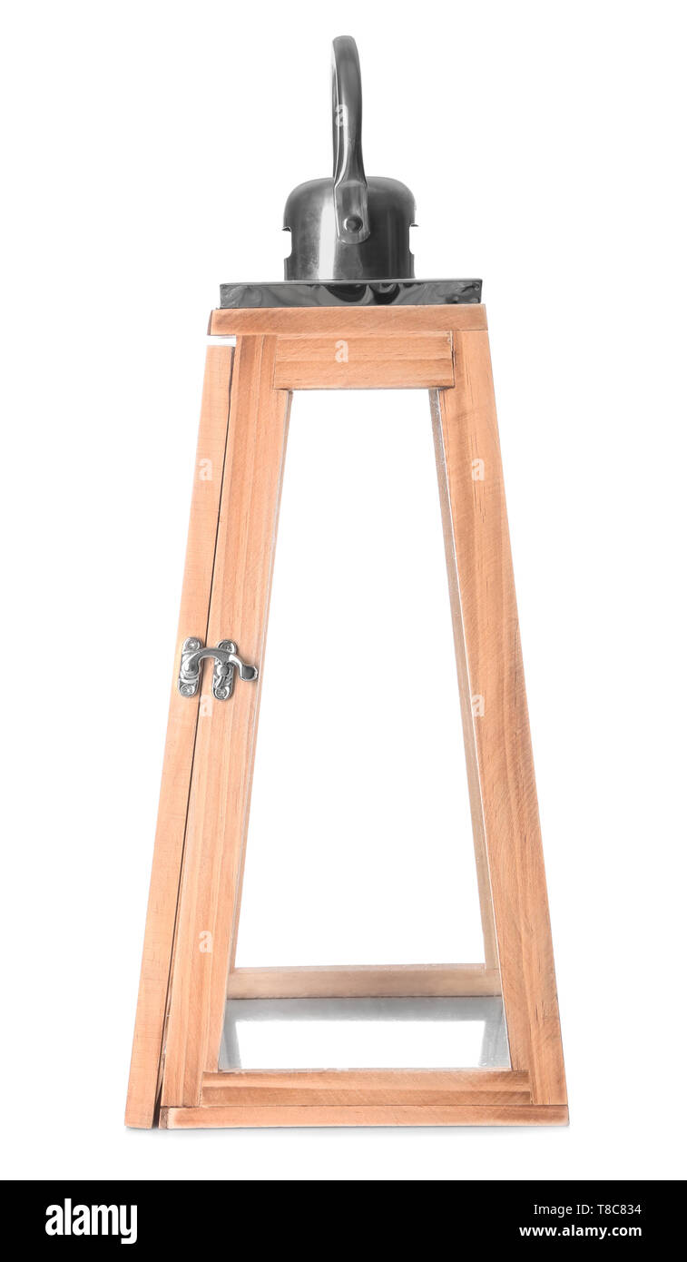 Modern lantern on white background - Stock Image