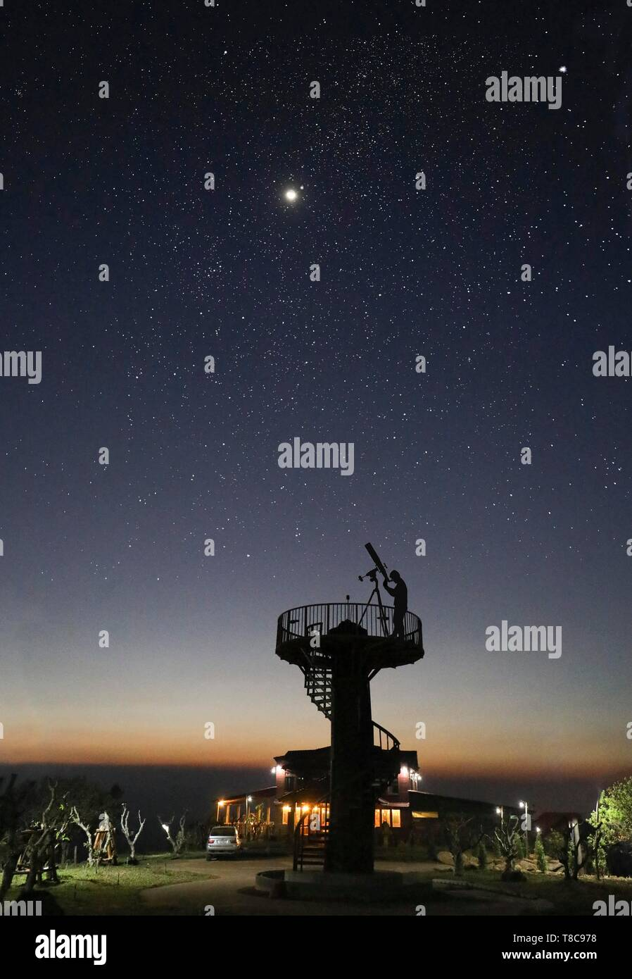 Observatory with telescope for observing the stars, starry