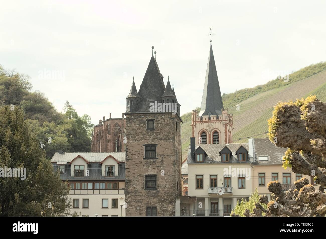 View of the medieval town of Bacharach (Germany, Europe) Stock Photo