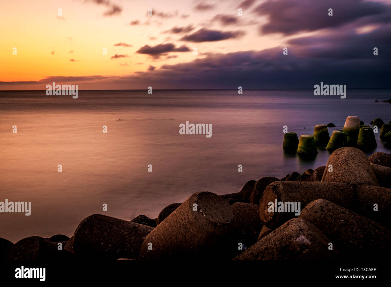 long exposure in the sunset, Jeju, South Korea - Stock Image