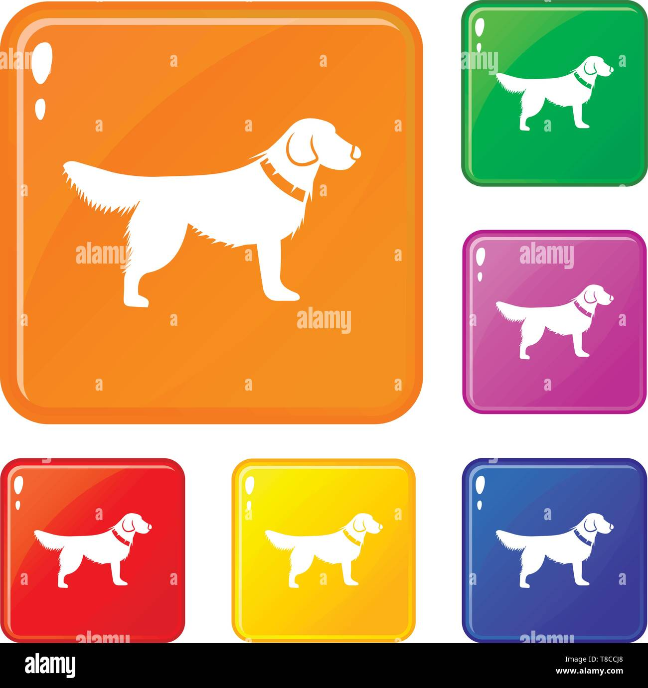 Dog icons set vector color - Stock Image