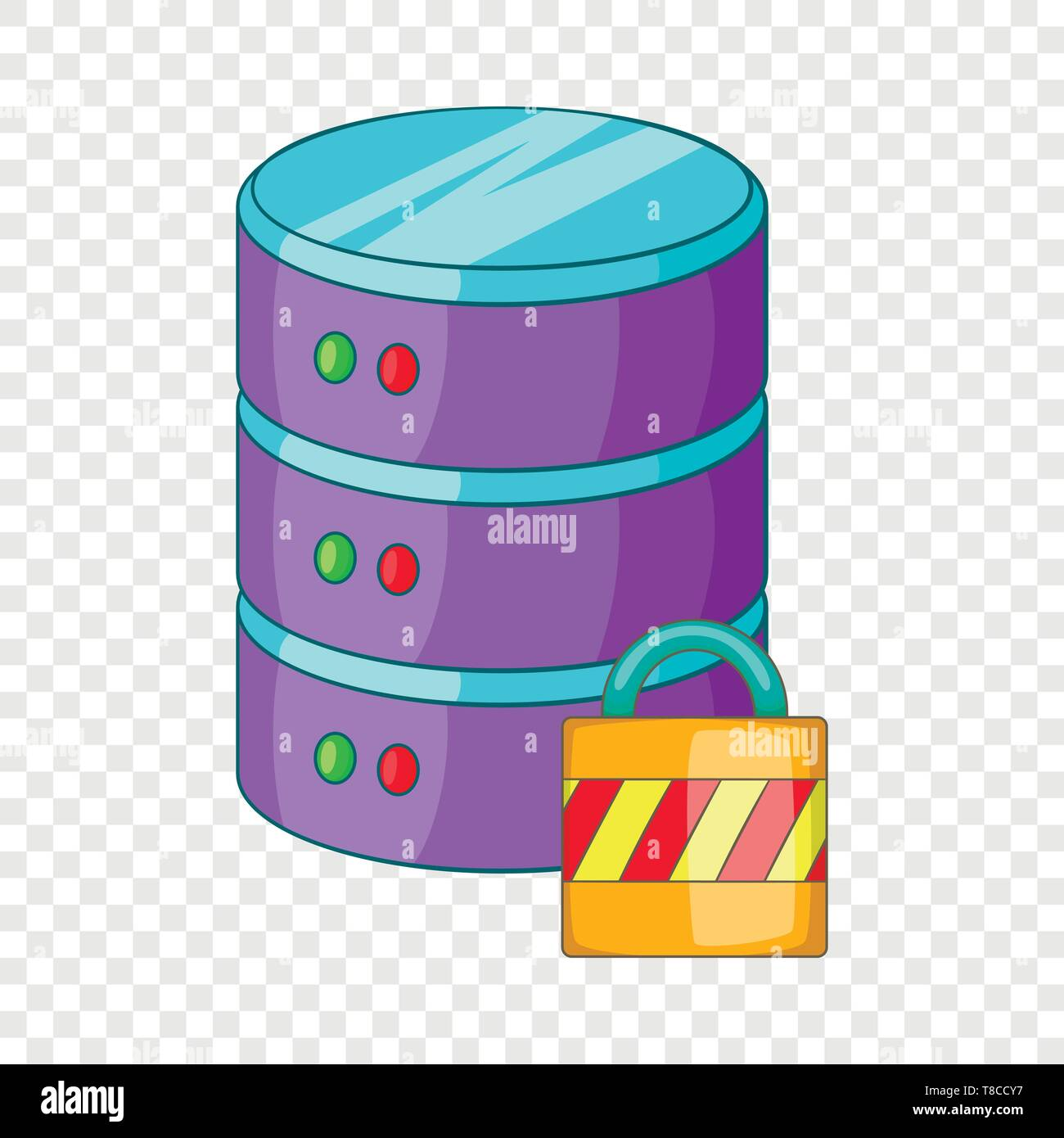 Data storage security icon, cartoon style - Stock Image