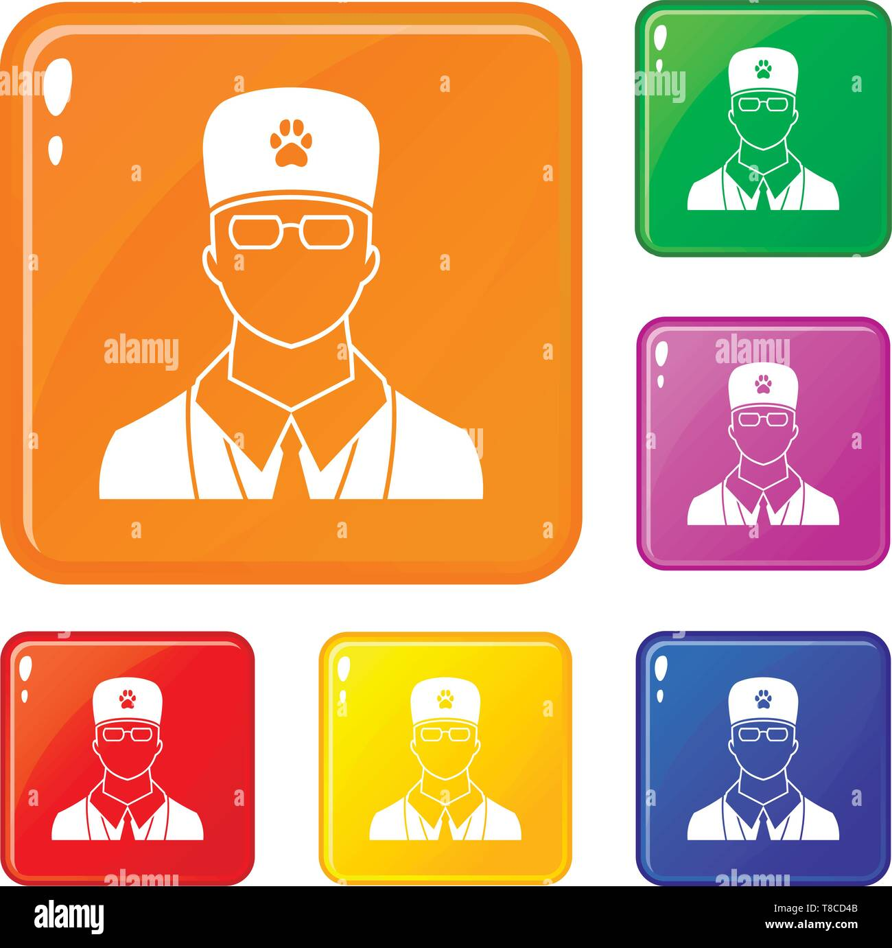 Veterinarian icons set vector color - Stock Image