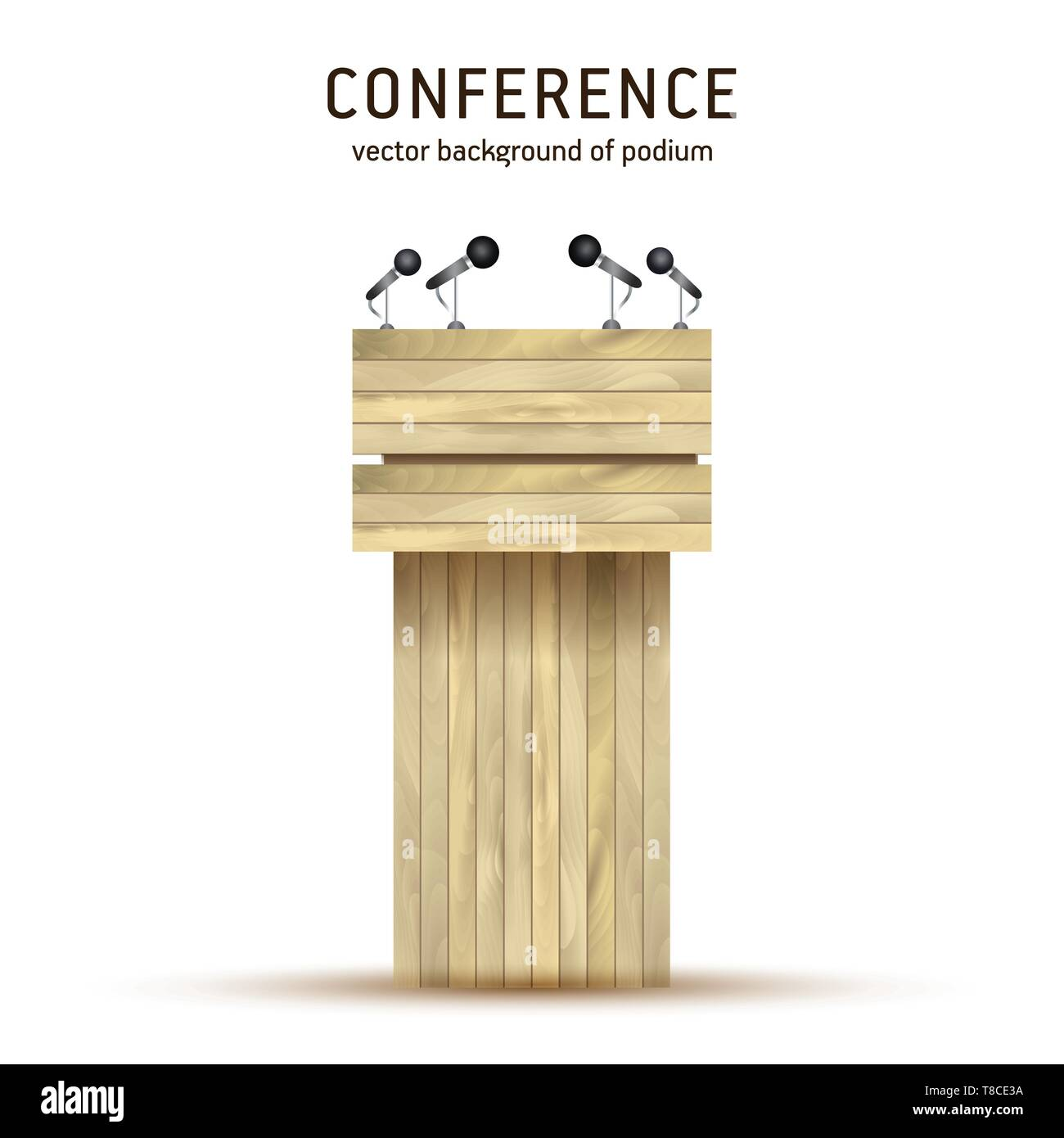 Podium Tribune Vector of wooden  Debate Podium Rostrum Stand