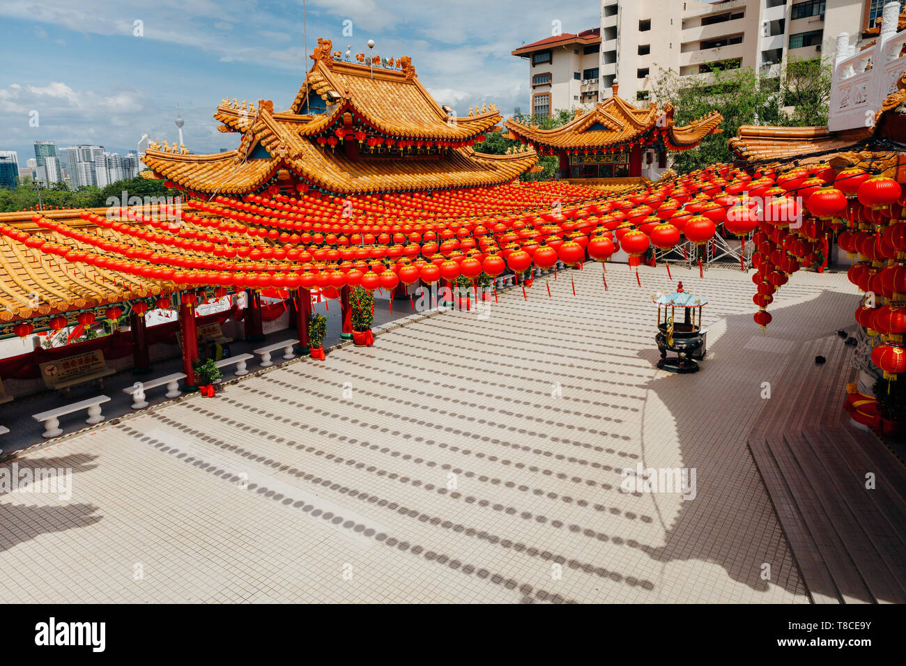 Thean Hou Temple decorated with lanterns for the Chinese New Year, Kuala Lumpur, Malaysia Stock Photo