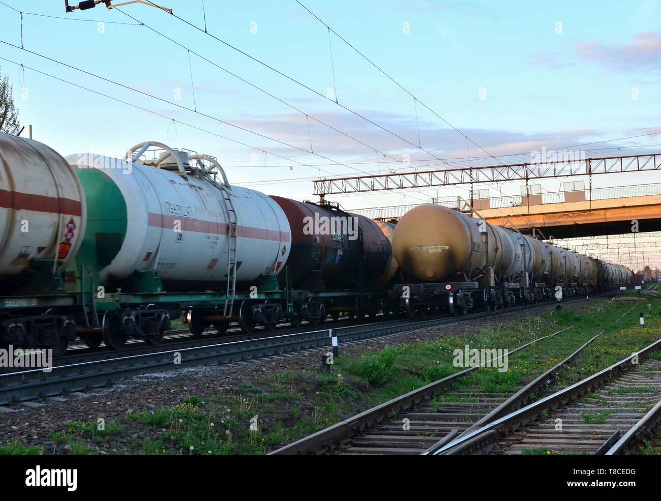 Rail cars carry crude oil and ethanol  Railway logistics explosive