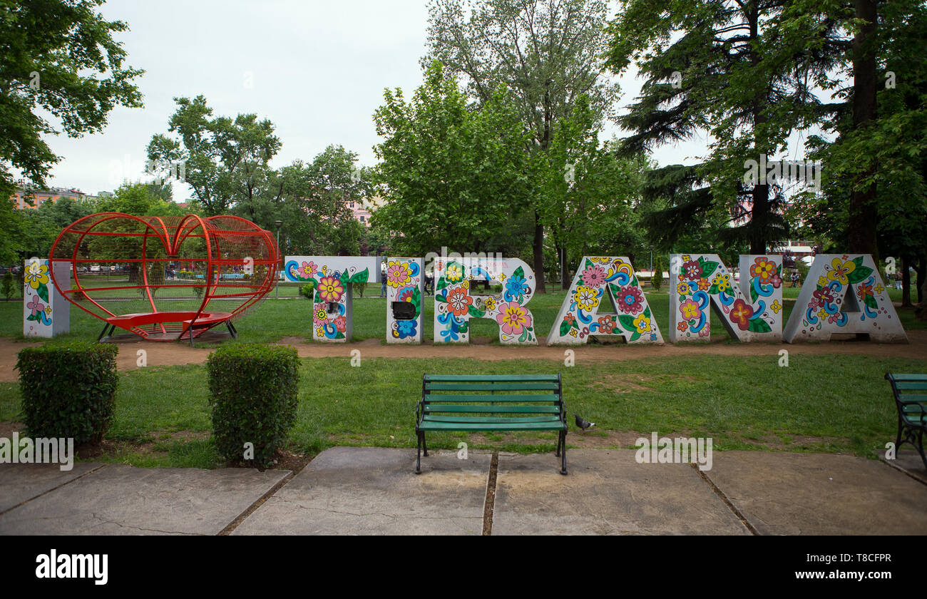 'I Love Tirana' sign sculpture in Tirana, Capital of Albania - Stock Image