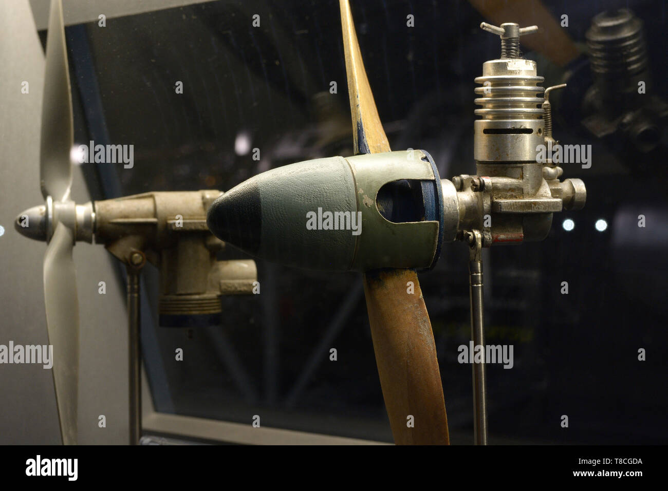 An aircraft modelling engine set on a stand. Festival Old Car Land. May 12, 2019. KIev, Ukraine - Stock Image