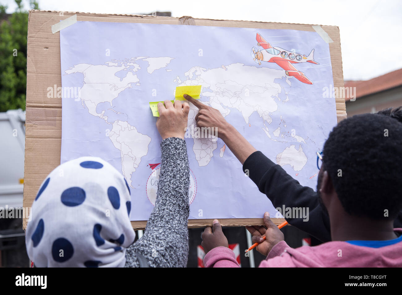 Roma, Italy. 11th May, 2019. A panel with the territorial distribution of the nationalities of the people asking for food A project organized by the Eco dalle Città association with the sponsorship of the I municipality to the new Esquilino market in Rome Credit: Matteo Nardone/Pacific Press/Alamy Live News - Stock Image