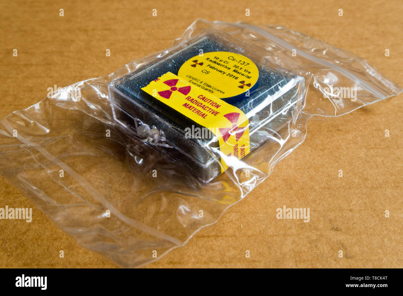 Small Cesium Radioactive in the Plastic package Stock Photo