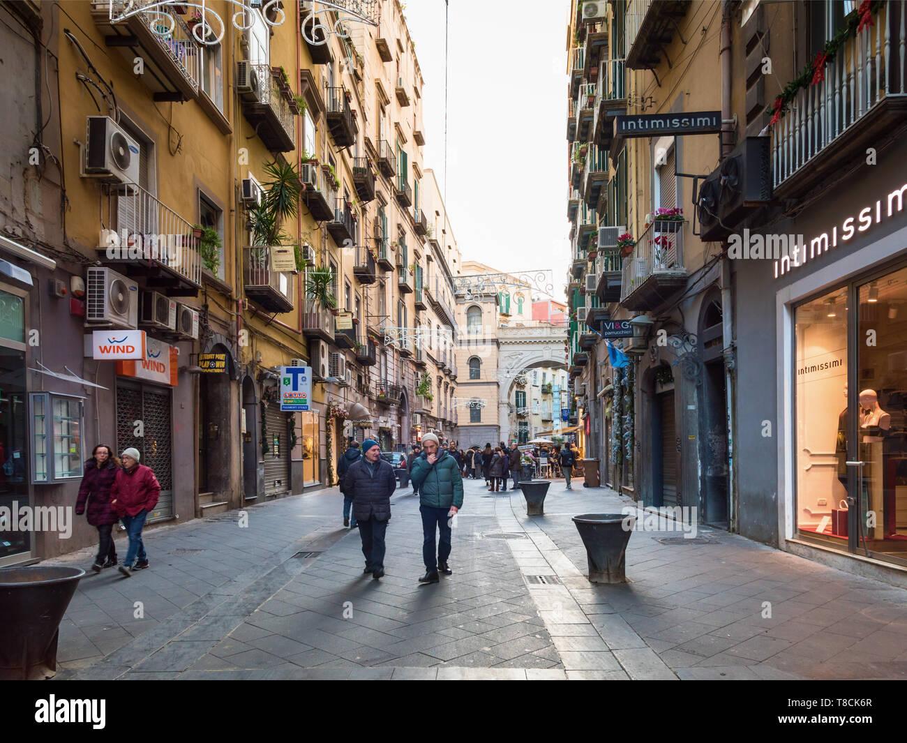 Naples pedestrian street Via Chiaia, Italy - Stock Image