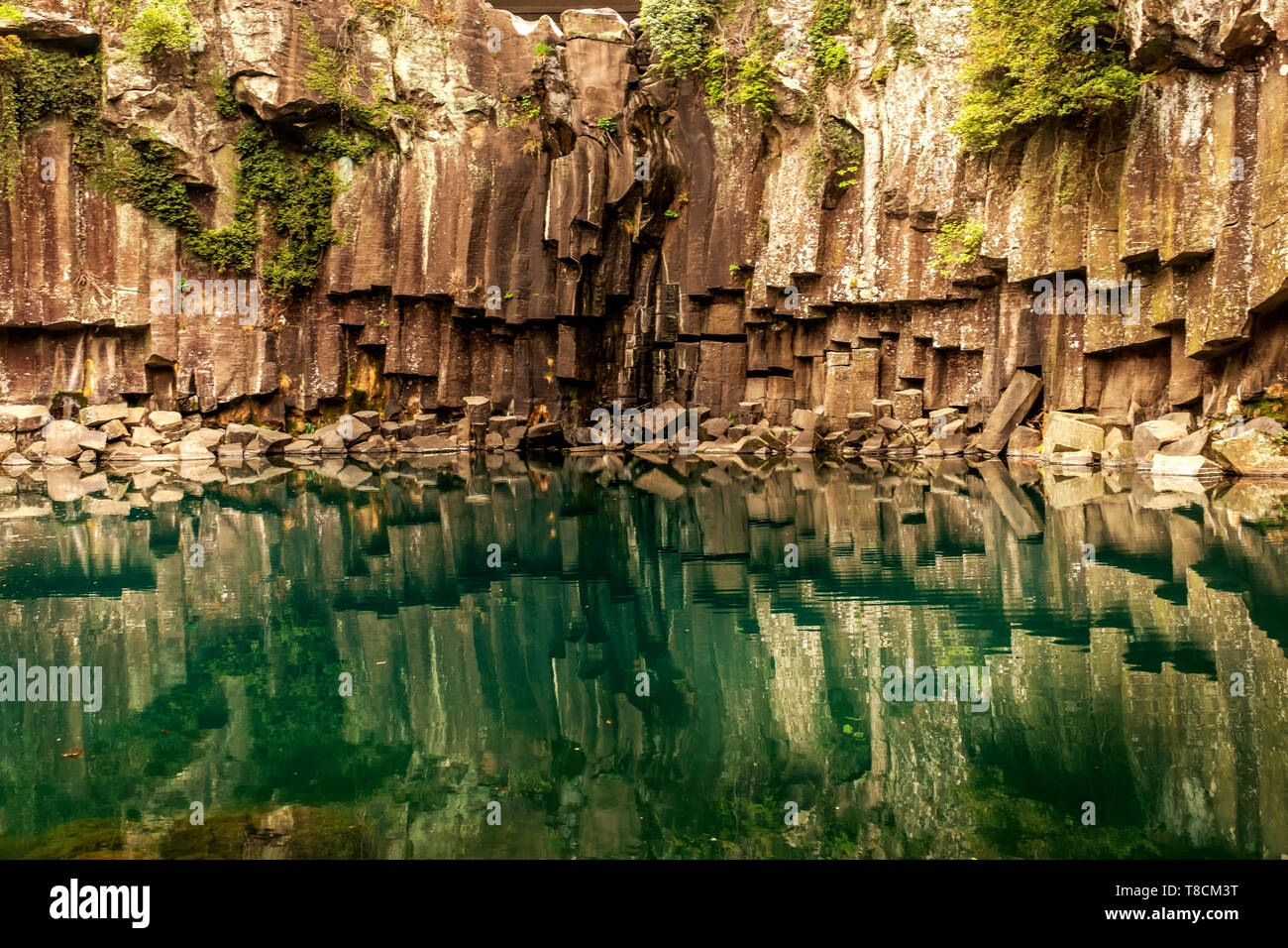 reflecrion in the water, Jeju, South Korea - Stock Image