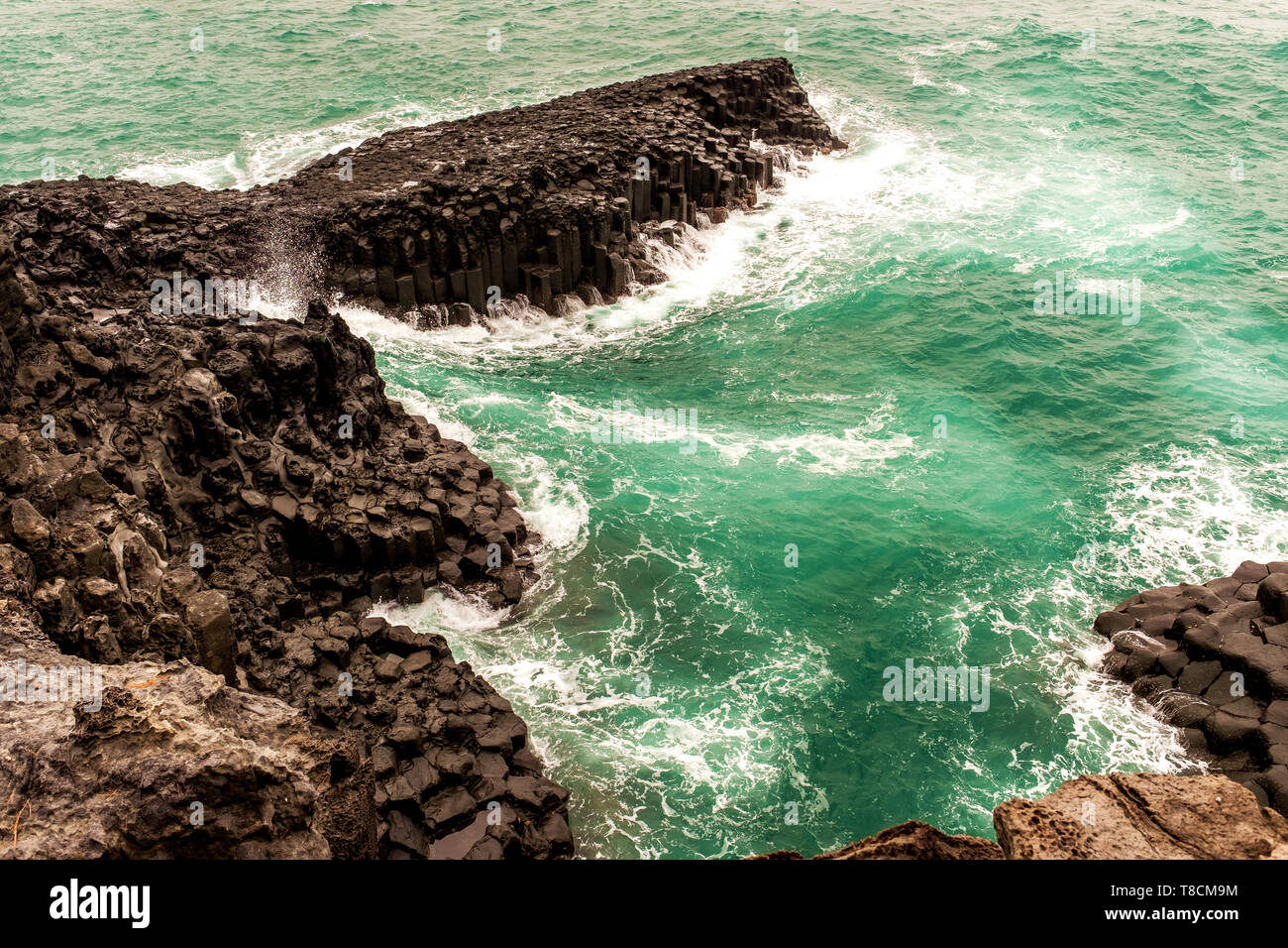 Daepo Jusangjeolli Cliff in Jeju, South Korea - Stock Image