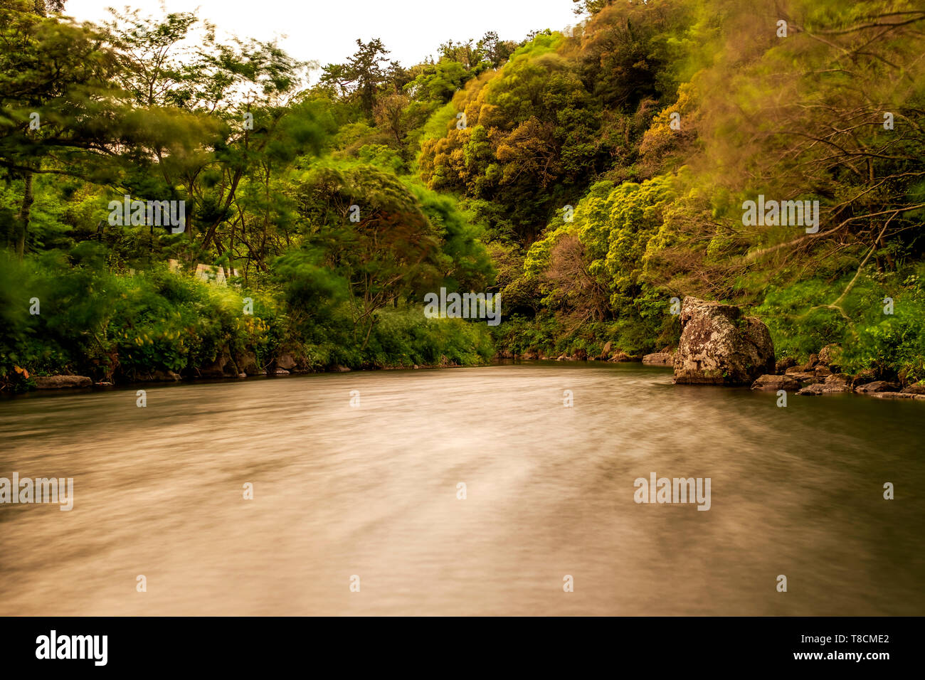 long exposure of the river, Jeju, South Korea - Stock Image