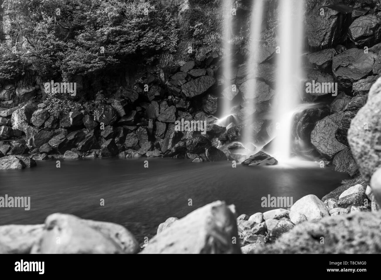 black and white landscape of Jeongbang waterfall in Jeju, South Korea - Stock Image