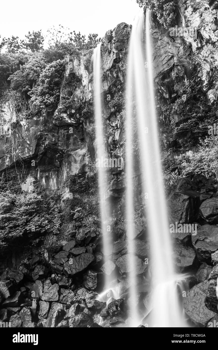 black and white view of  Jeongbang waterfall in Jeju, South Korea - Stock Image