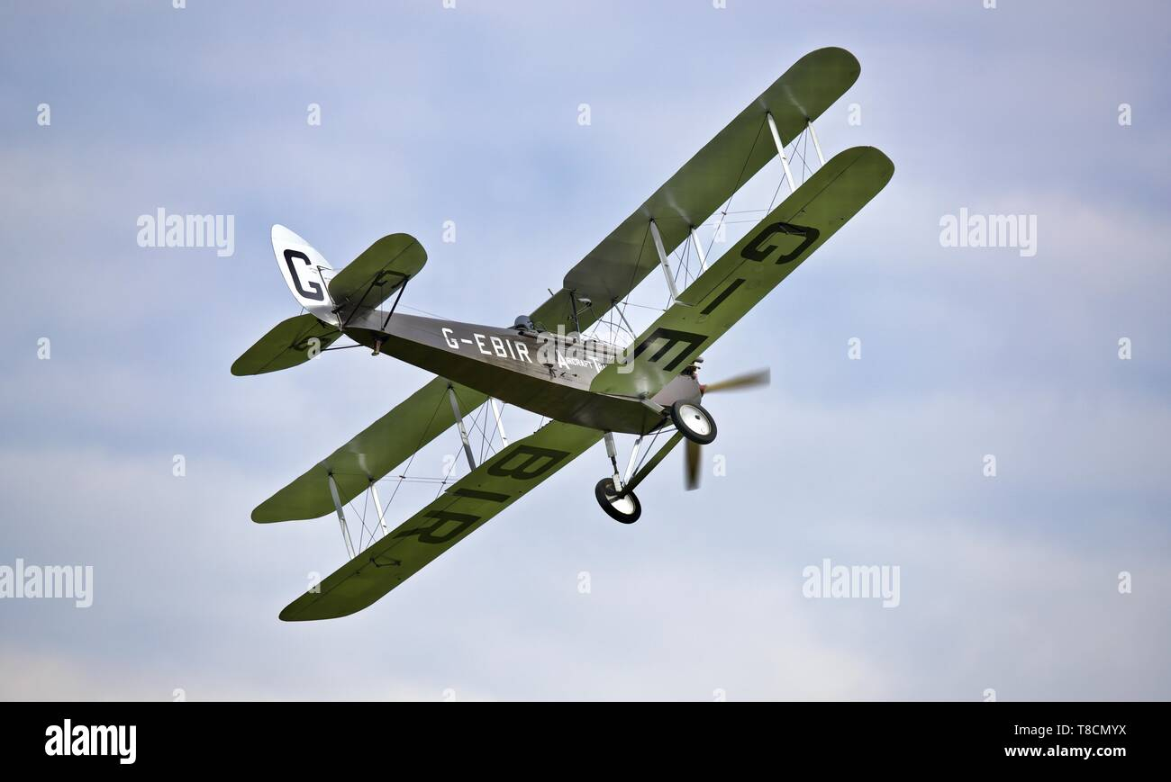 de Havilland DH.51 'MISS KENYA' performing at the season premiere airshow at Shuttleworth on the 5th May 2019 - Stock Image