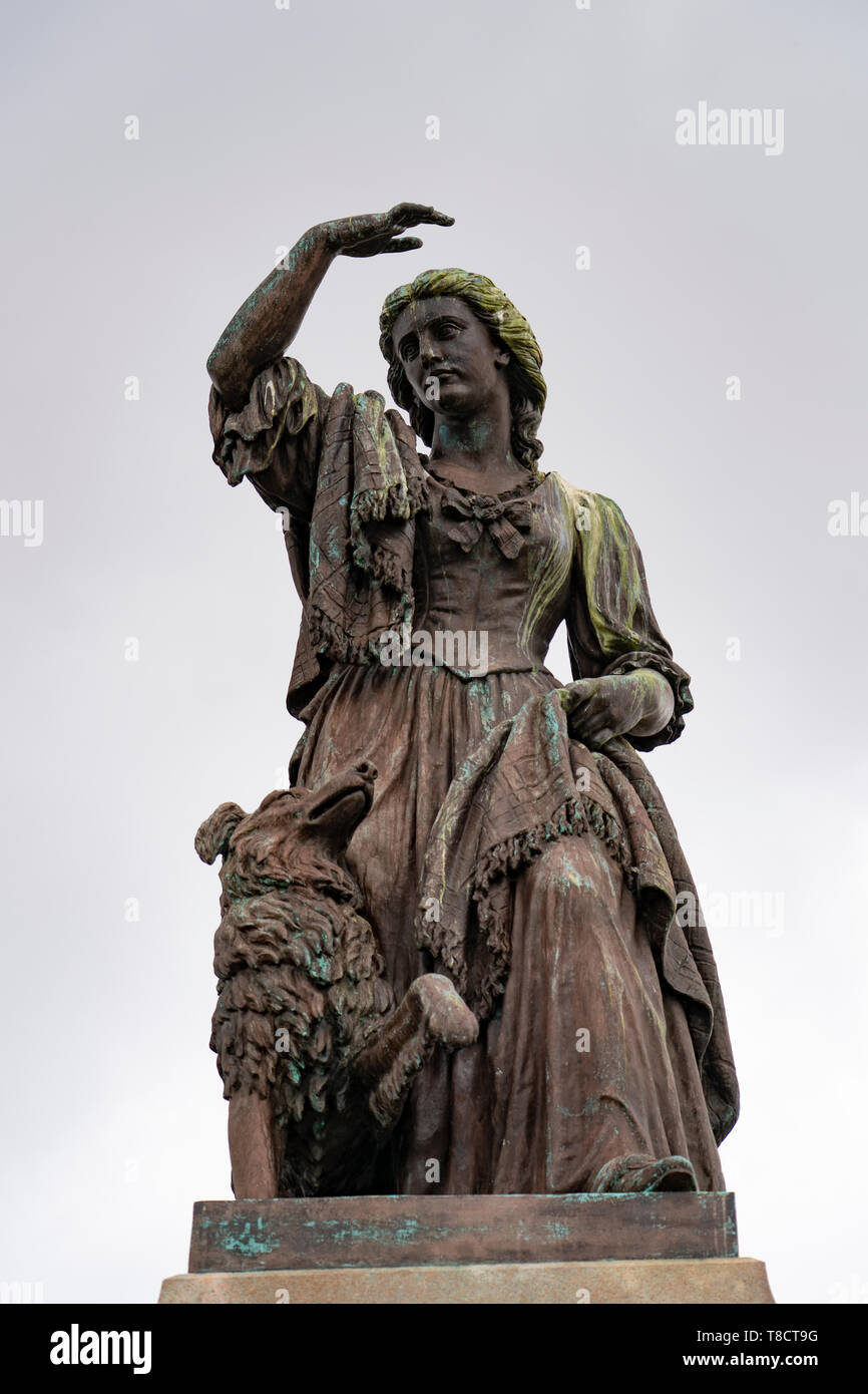 Statue of Flora MacDonald outside Inverness Castle in Inverness, on the North Coast 500 scenic driving route in northern Scotland, UK - Stock Image