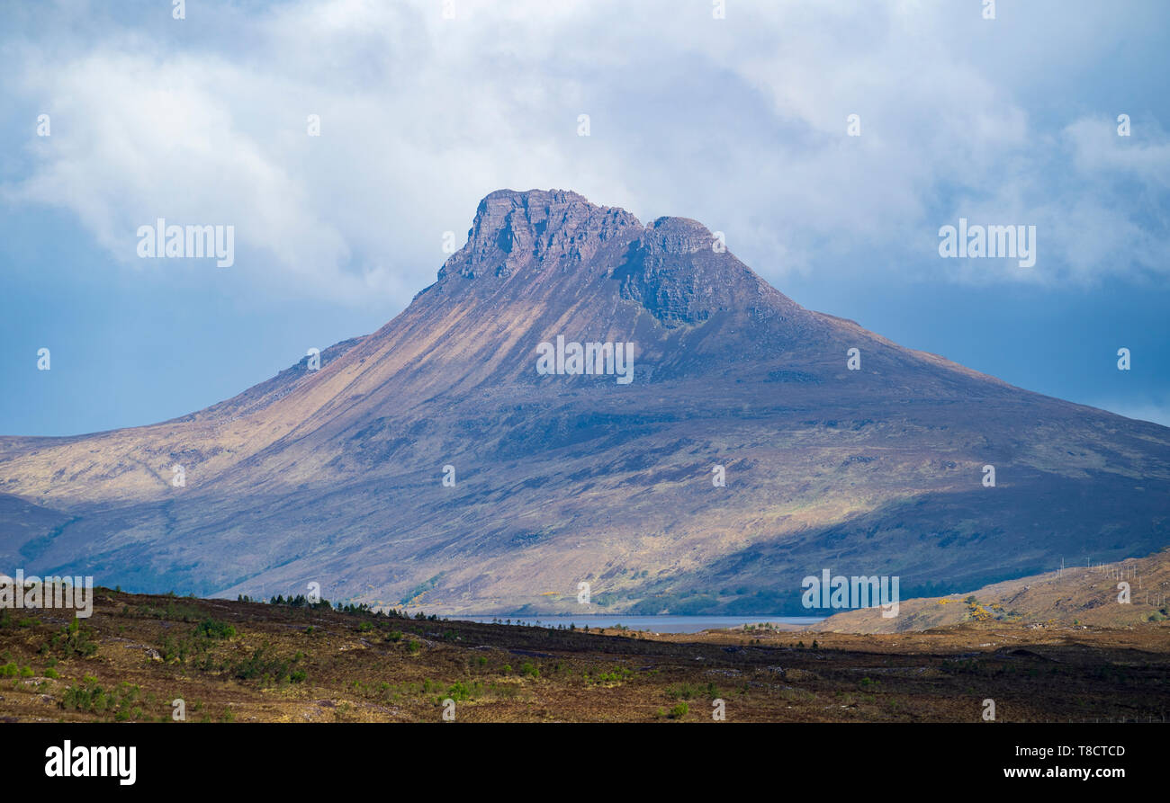 View of Stac Pollaidh mountain in Assynton the North Coast 500 scenic driving route in northern Scotland, UK - Stock Image