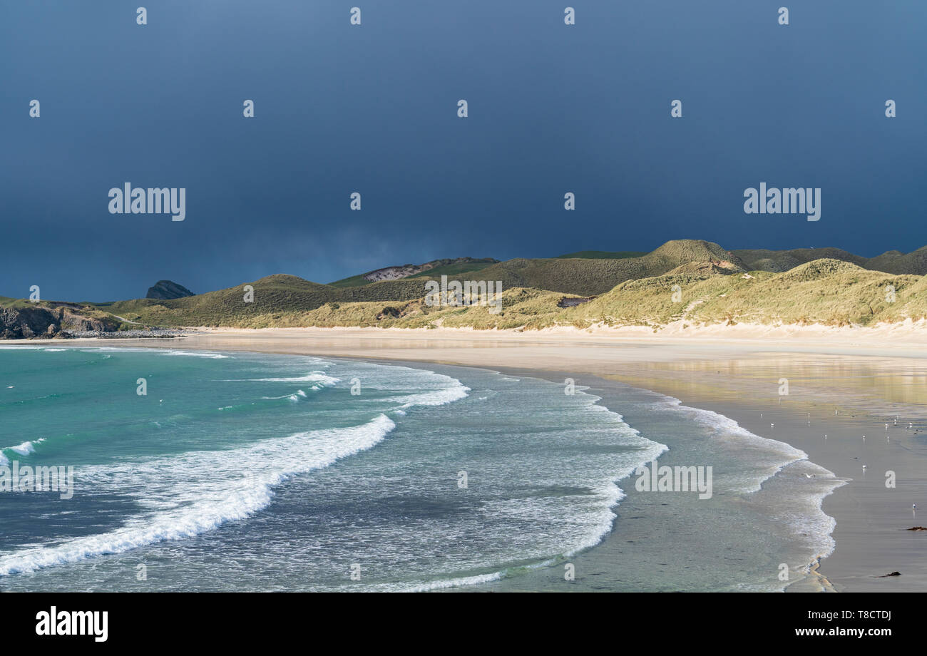 Beach at Balnakeil Bay near Durness in Sutherland on the North Coast 500 scenic driving route in northern Scotland, UK - Stock Image