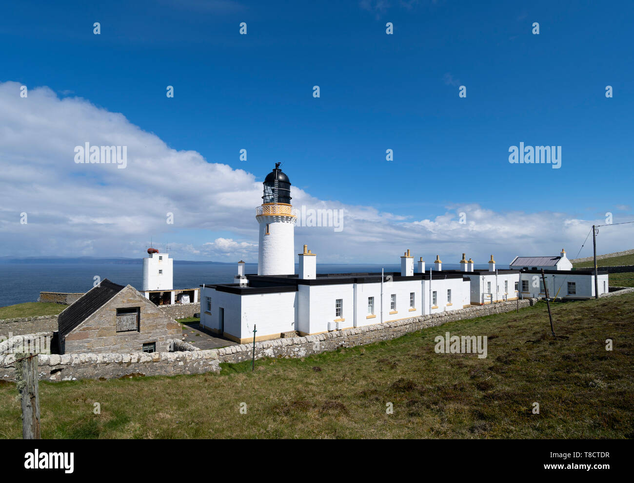 Dunnet Head lighthouse on the North Coast 500 scenic driving route in northern Scotland, UK - Stock Image