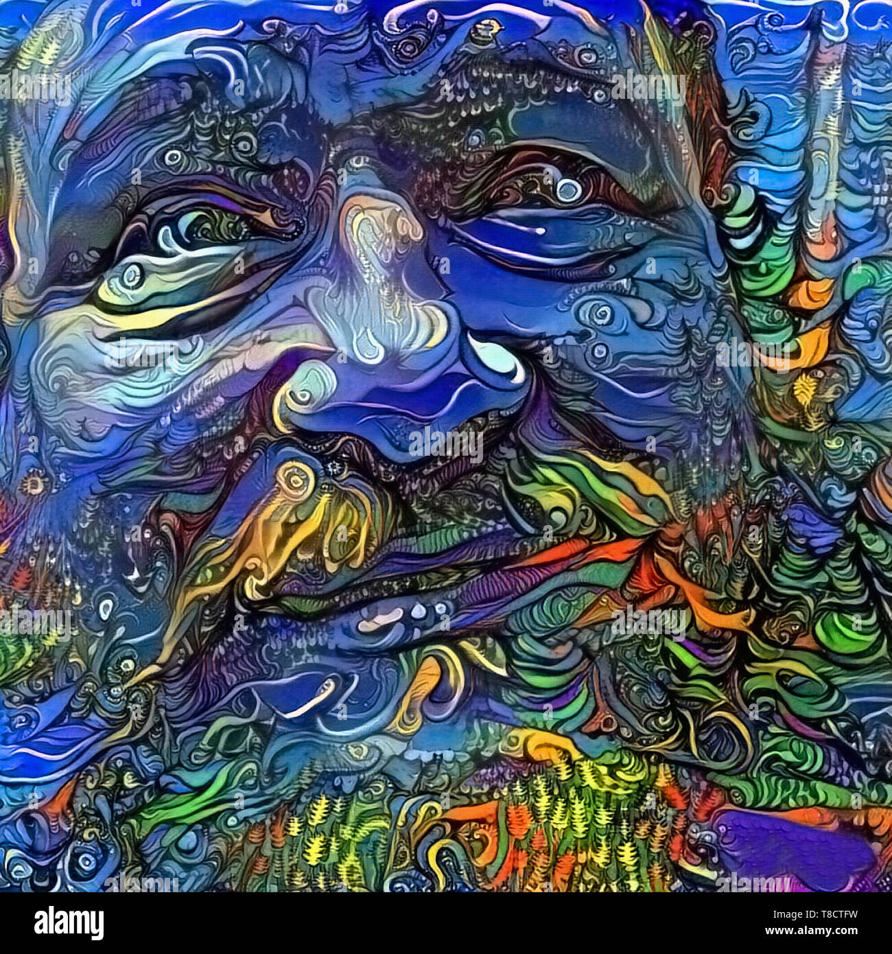 Modern Abstract Painting Smiling Man S Face Stock Photo