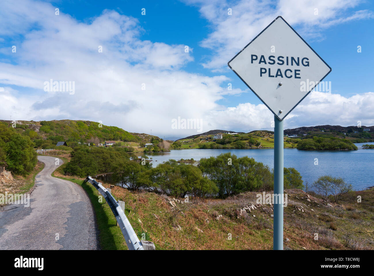 Single track road and passing place at Stoer on the North Coast 500 scenic driving route in northern Scotland, UK - Stock Image