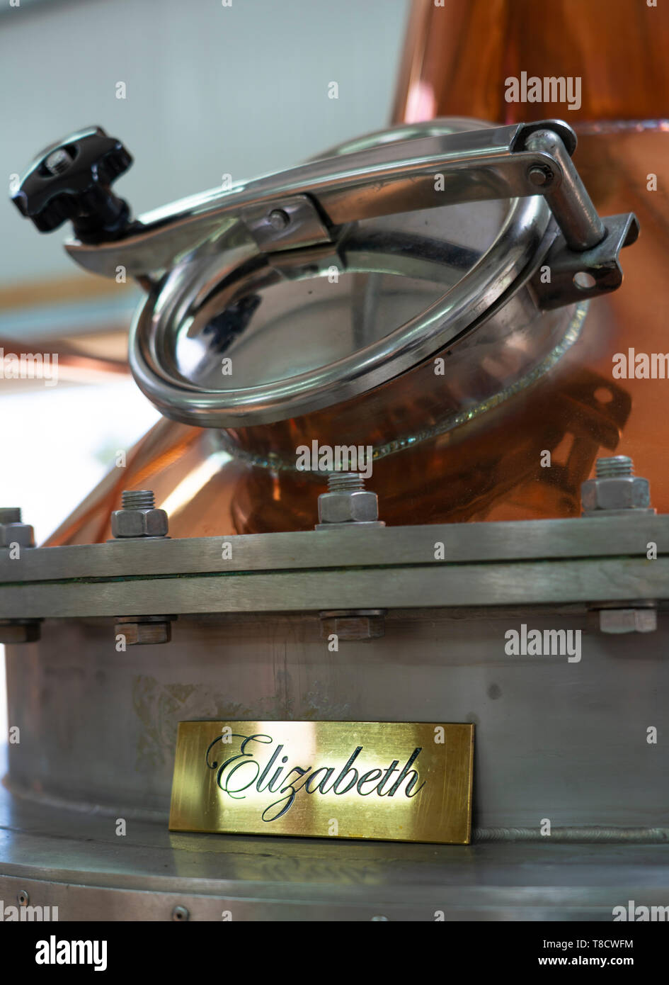Gin still at  Dunnet Bay Distillery in Caithness on  the North Coast 500 scenic driving route in northern Scotland, UK - Stock Image