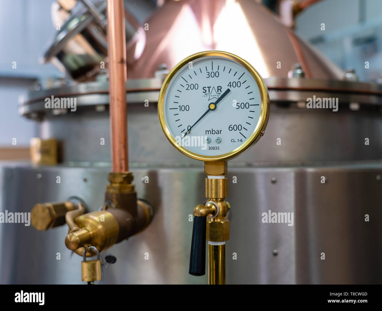 Detail of still at  Dunnet Bay Distillery in Caithness on  the North Coast 500 scenic driving route in northern Scotland, UK - Stock Image