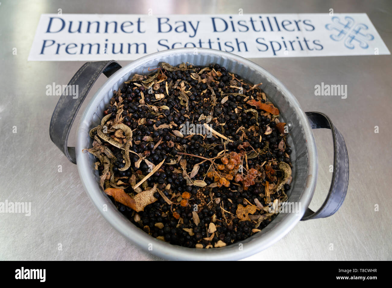 Basket of dried botanicals at  Dunnet Bay Distillery in Caithness on  the North Coast 500 scenic driving route in northern Scotland, UK - Stock Image