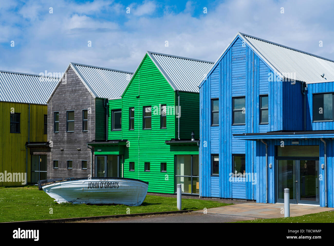 The Inn at John O' Groats colourful modern architecture of hotel at John O'Groats on  North Coast 500 scenic driving route in northern Scotland, UK - Stock Image