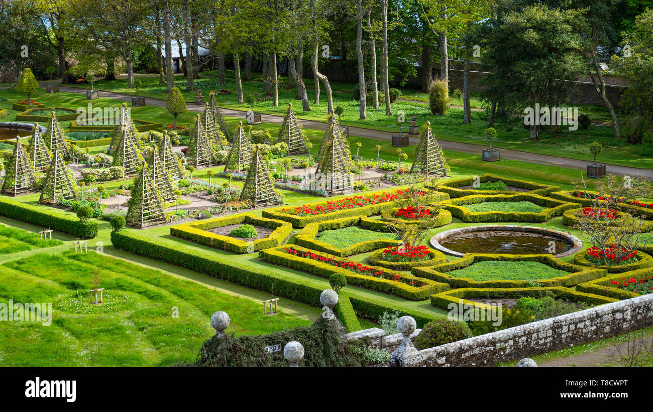 Garden at Dunrobin Castle on the North Coast 500 scenic driving route in northern Scotland, UK Stock Photo