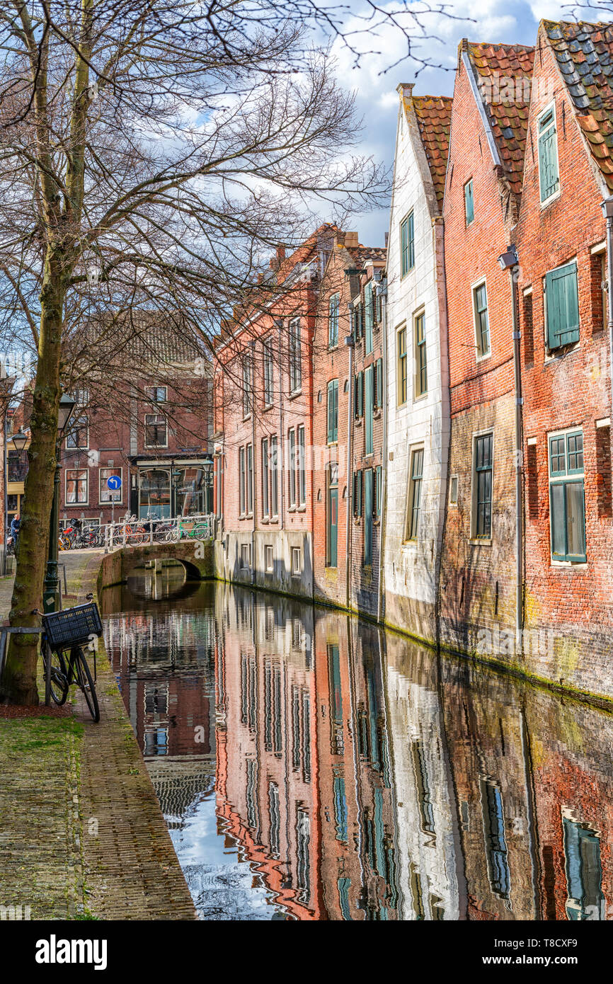 Alkmaar, the Netherlands - April 12, 2019: The old city centre of Alkmaar in North-Holland in the Netherlands. Also known as the city of cheese. - Stock Image