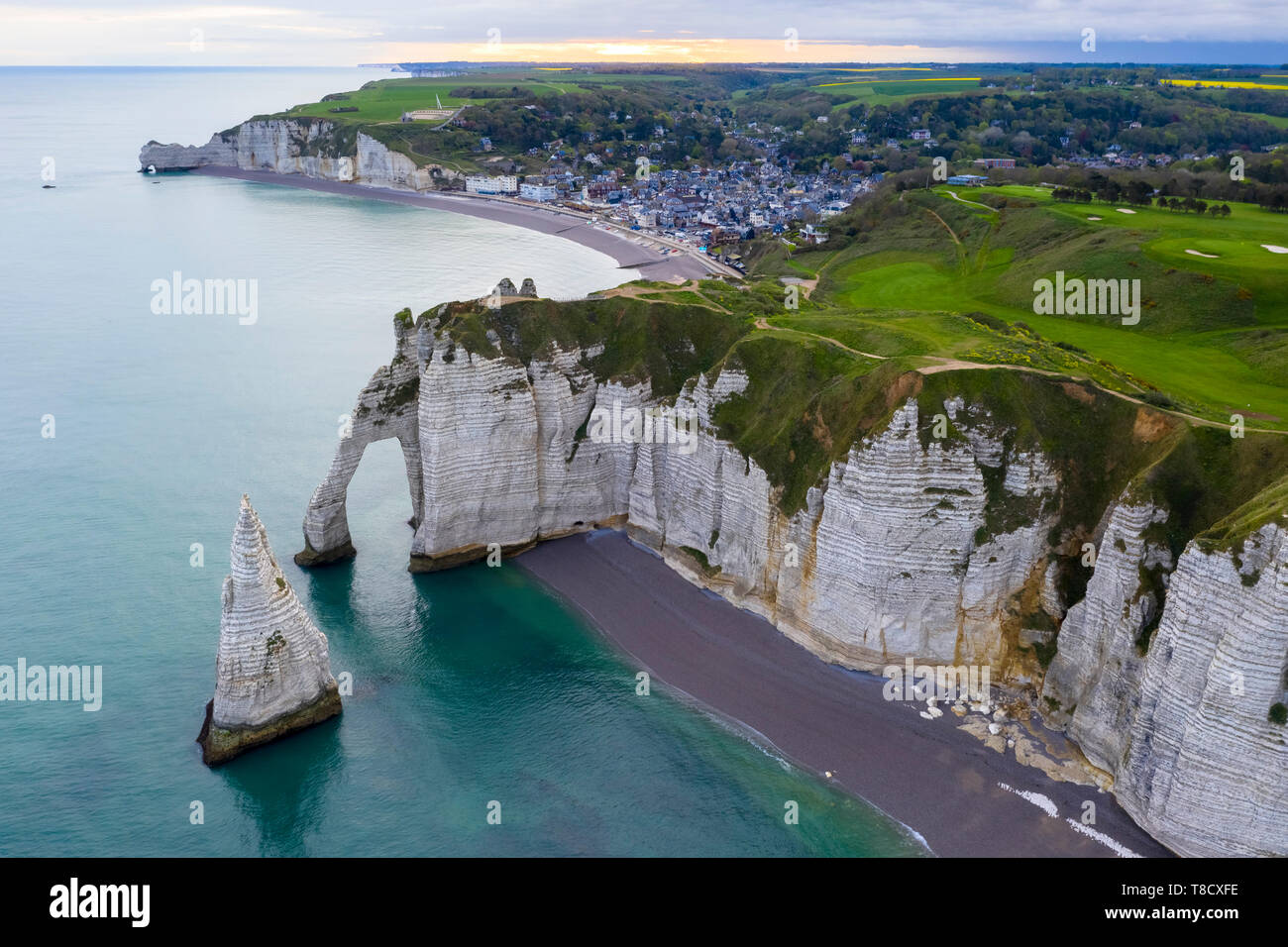 Aerial view of the cliffs of Etretat, Octeville sur Mer, Le Havre, Seine Maritime, Normandy, France, Western Europe. - Stock Image