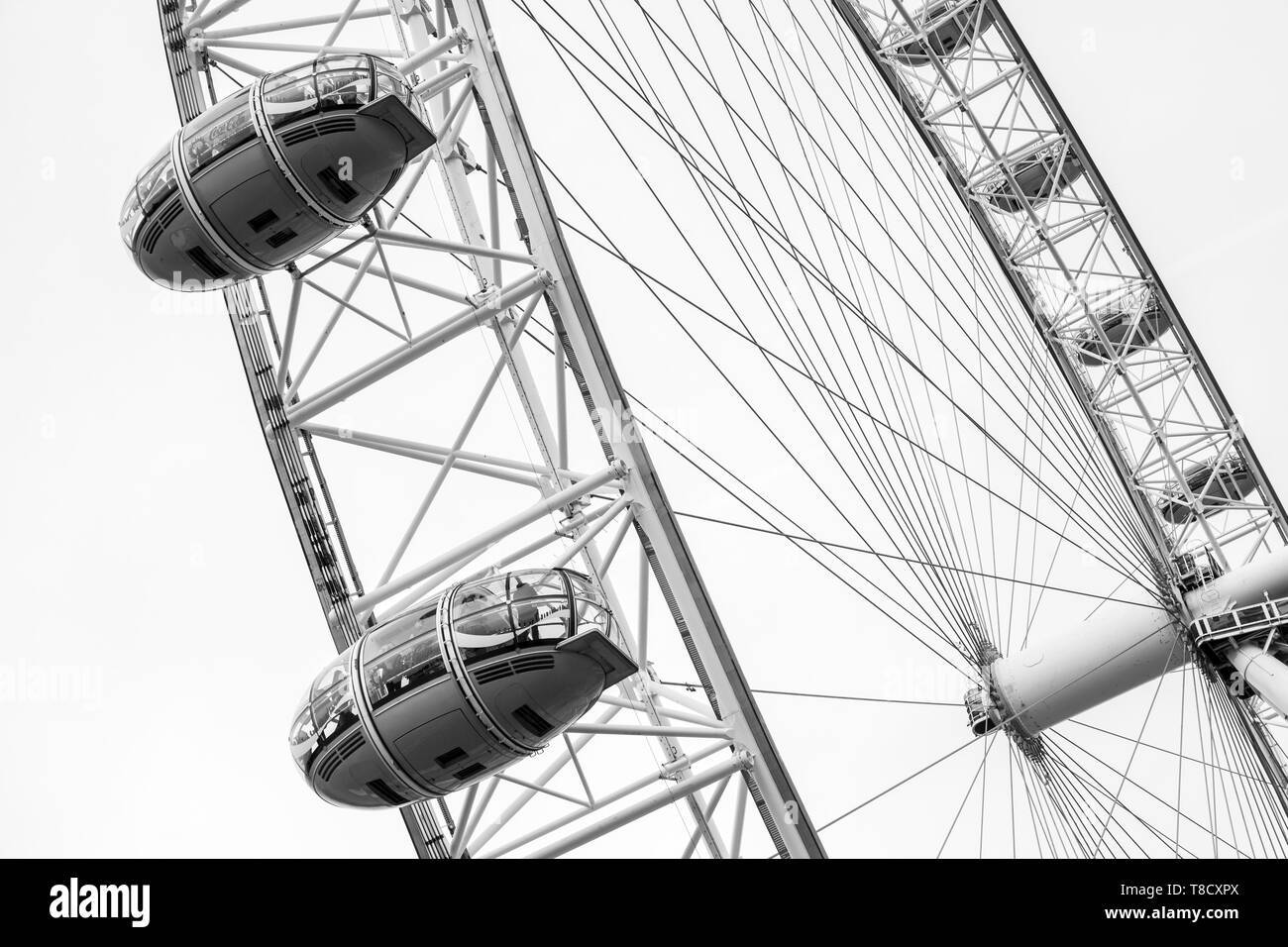 London, United Kingdom - October 31, 2017: Fragment of London Eye giant Ferris wheel mounted on the South Bank of River Thames in London - Stock Image
