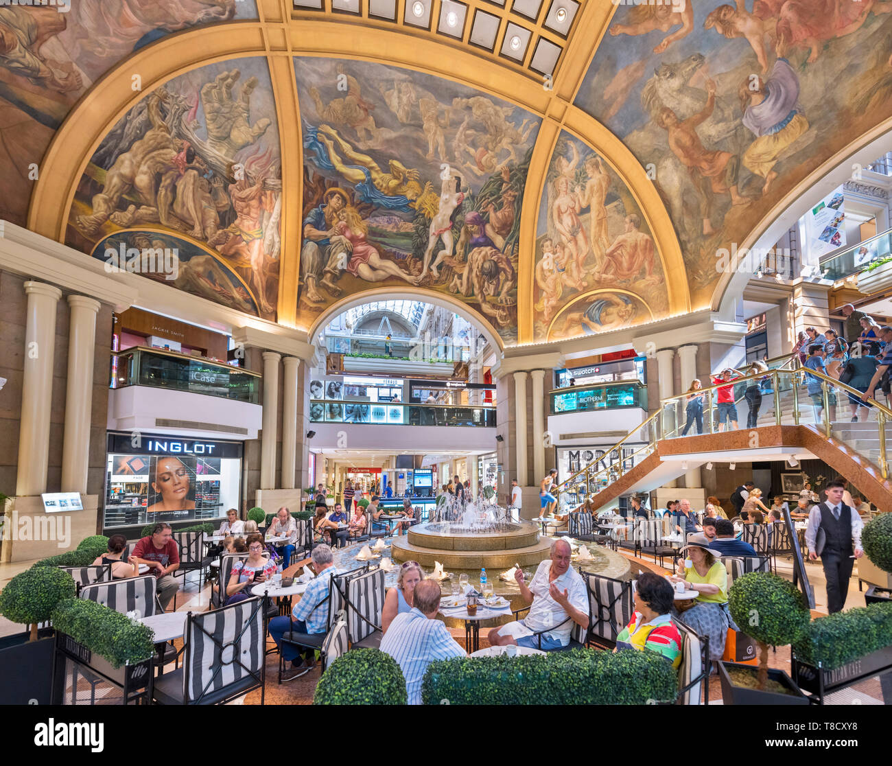Buenos Aires Galerias Pacifico. Cafe inside the Galerías Pacífico, a popular shopping centre in the city centre, Buenos Aires, Argentina - Stock Image