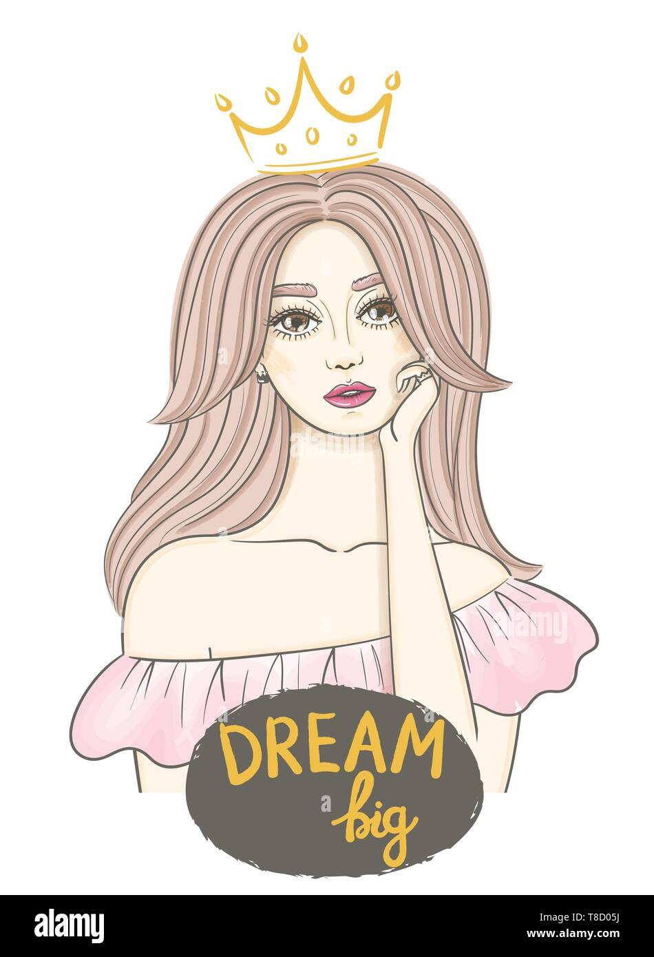 Dreaming Girl Concept Idea Beautiful Young Woman With Long Wavy Hair In The Crown And Hand Written Text Dream Big Hand Drawn Sketch Stock Vector Image Art Alamy