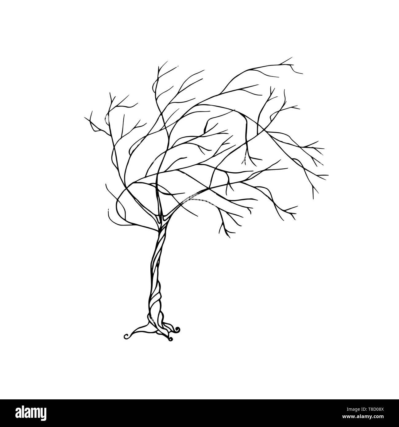 Fairy hand drawn black line art tree. Wind blowing - Stock Vector