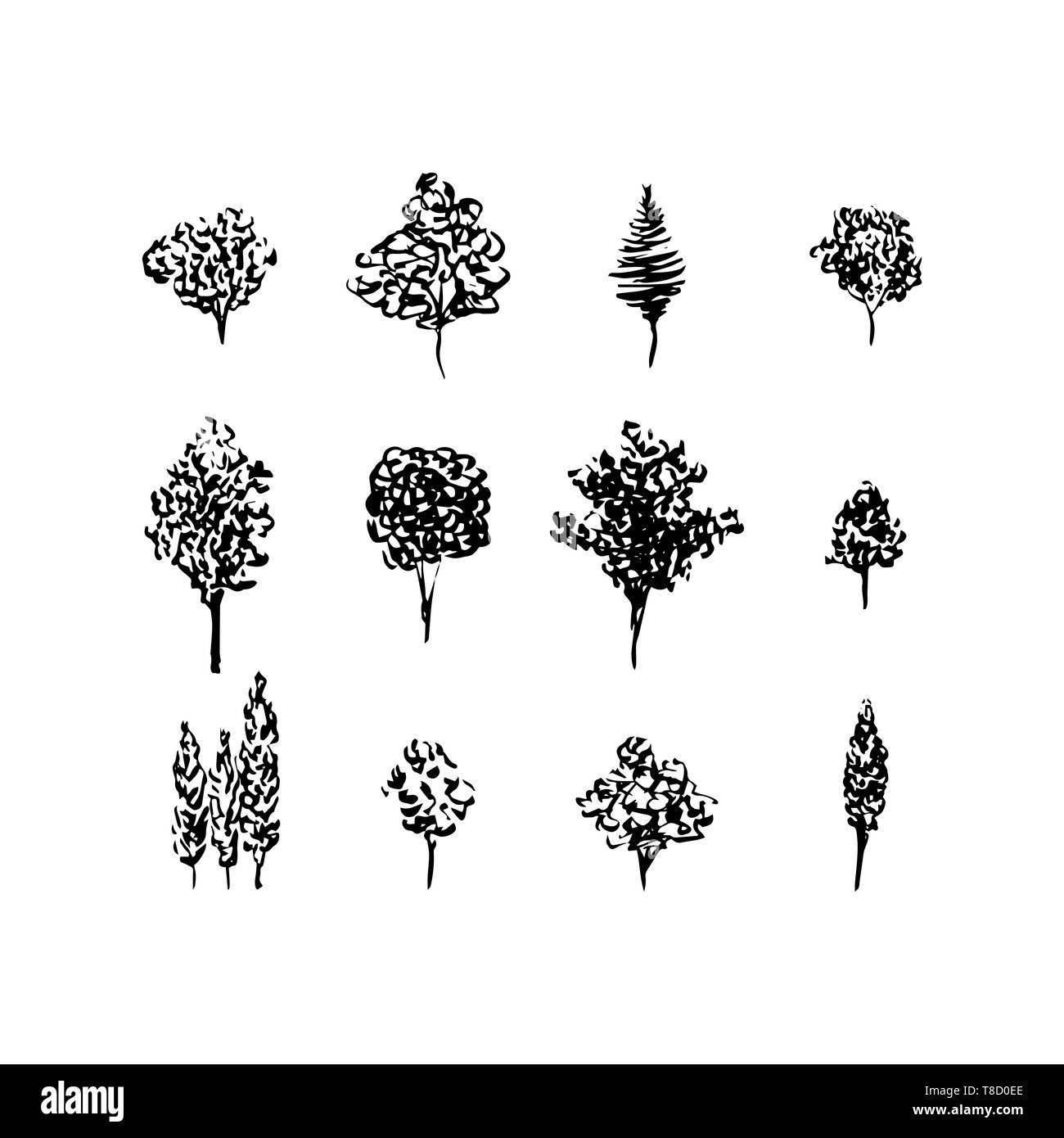 Trees black silhouettes, set isolated on white. Hand drawn ink style. Christmas tree, fruit tree - Stock Vector