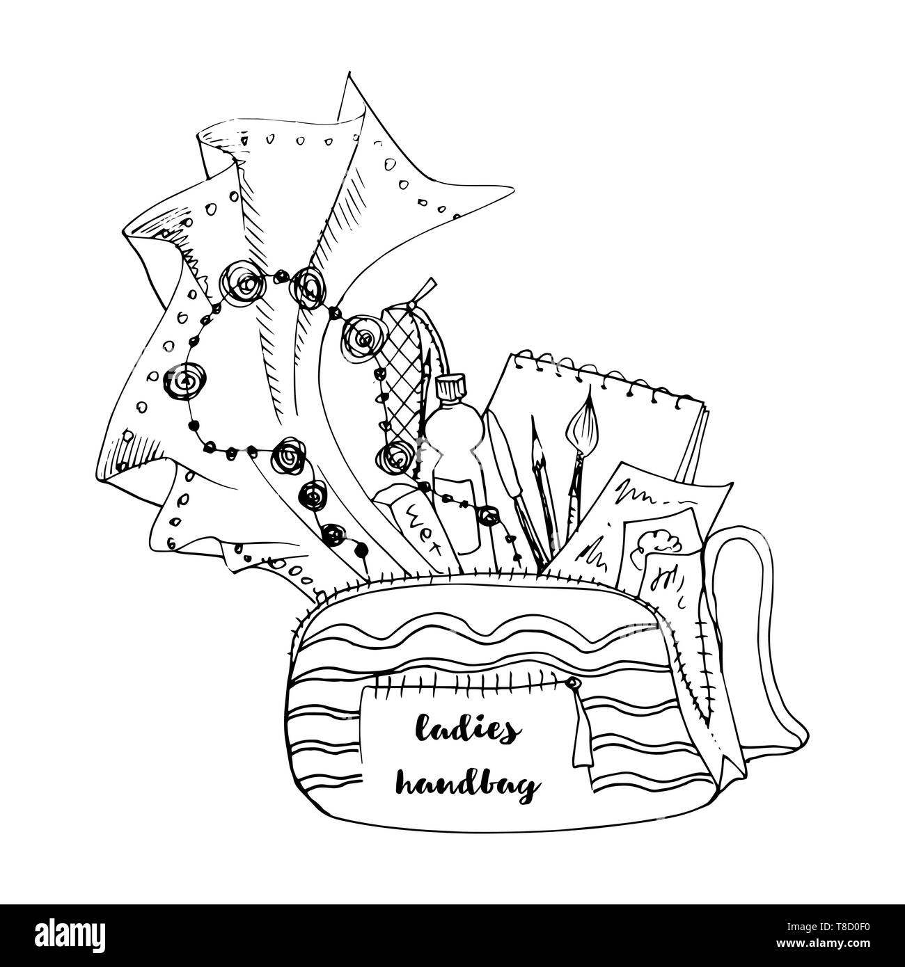 Ladies handbag doodle style illustration with black outlines - Stock Image