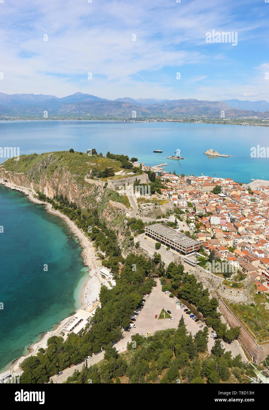 landscape from above of Nafplio Argolis Greece - drone view - Stock Image