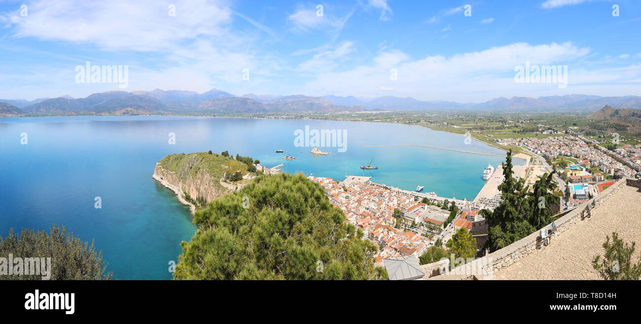 panoramic scenery from above of Nafplio city Argolis Greece - drone view - Stock Image