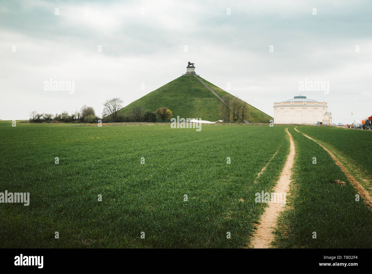 Panorama view of famous Lion's Mound (Butte du Lion) memorial site, a conical artificial hill, Wallonia, Belgium - Stock Image