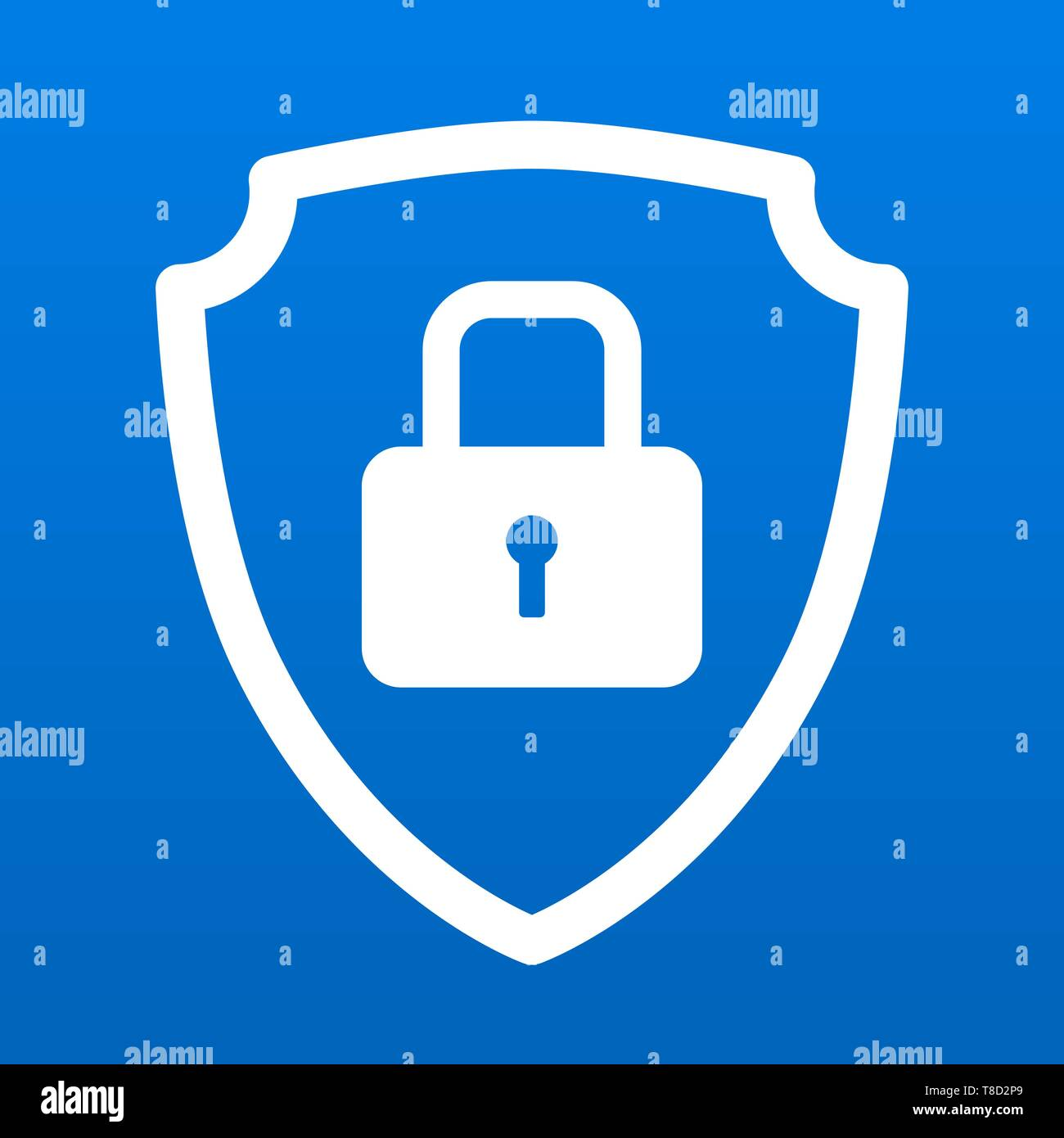 Shield icon symbol with security lock for safety and protection vector illustration - Stock Image