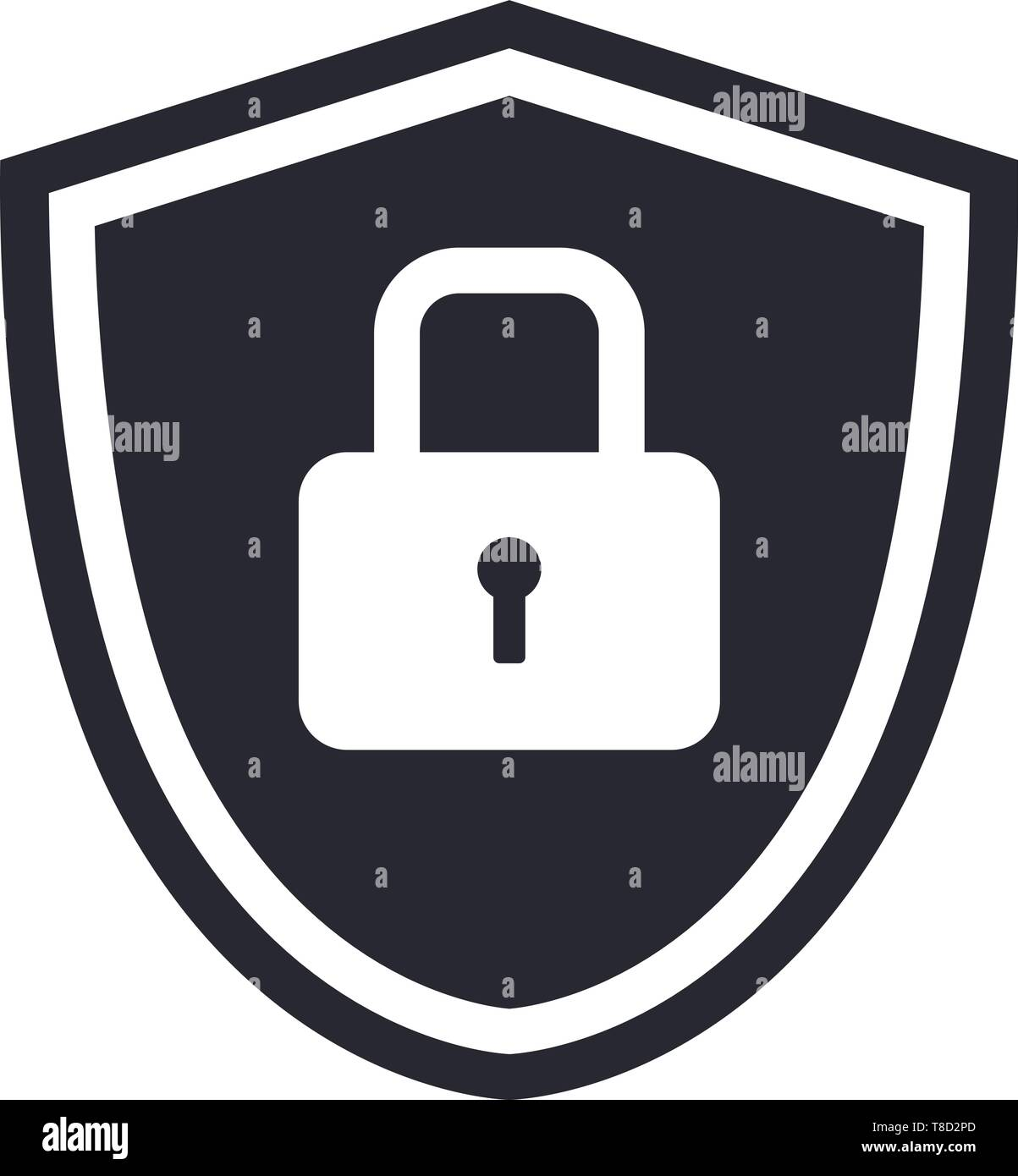 Shield icon symbol with security lock for protection vector illustration - Stock Vector