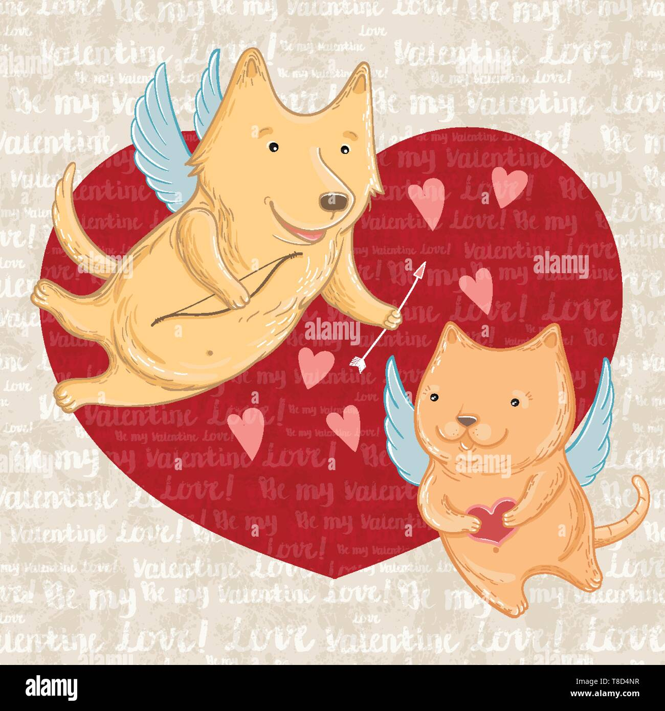 Vector illustration of Cupid dog and cat, greeting valentine. Template for greeting cards. - Stock Image