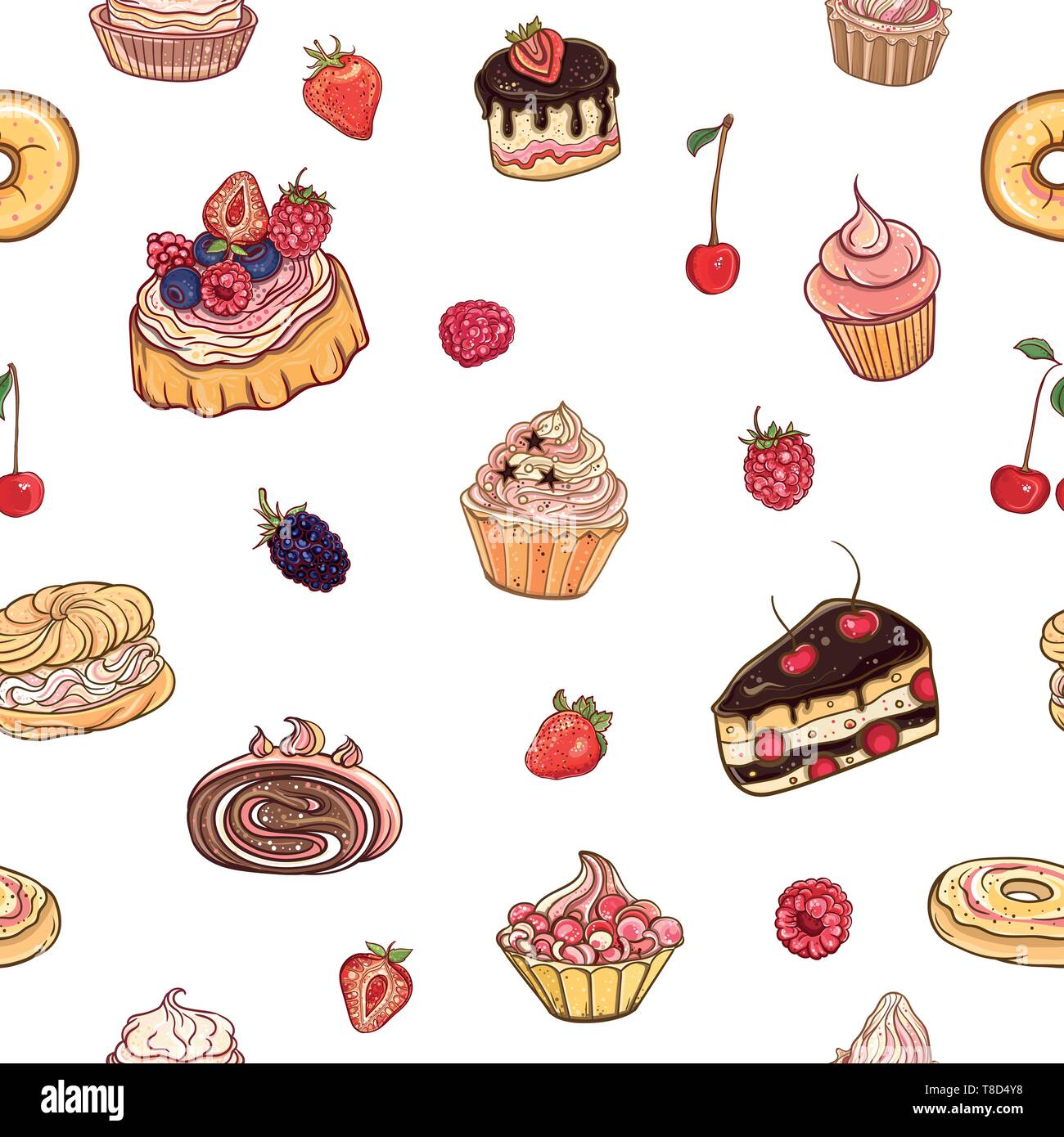 Seamless Pattern Time For Sweet Vector Colorful Delicious Background With Cakes Pastries Cupcakes And Donuts On White Backdrop